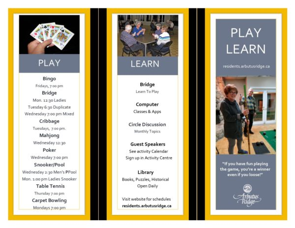 Play, Learn - Brochure pub  - Arbutus Ridge Active Adult Retirement